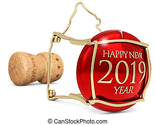 isolé, illustration, bouchon, 2019, blanc, année, nouveau, champagne, 3d