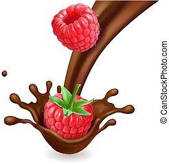 isolé, illustration, chocolat, éclaboussure, framboise, 3d