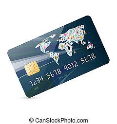isolé, illustration, crédit, vecteur, fond, blanc, carte