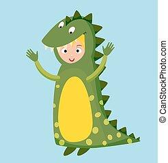 isolé, illustration, dragon, crocodile, vecteur, déguisement, gosse