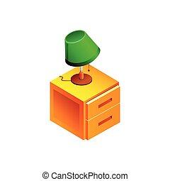 isolé, illustration, lampe, vecteur, fond, table, blanc
