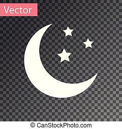 isolé, illustration, lune, arrière-plan., vecteur, étoiles, blanc, transparent, icône