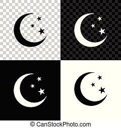 isolé, illustration, lune, arrière-plan., vecteur, étoiles, noir, blanc, transparent, icône