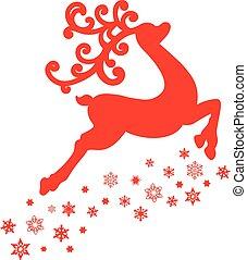 isolé, illustration, renne, vecteur, fond, blanc rouge