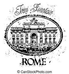 isolé, illustration, rome, unique, vecteur, icône
