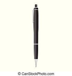 isolé, illustration, stylo, vecteur, noir, blanc