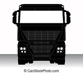 isolé, illustration, unique, vecteur, camion, icône