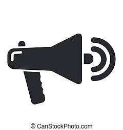 isolé, illustration, unique, vecteur, porte voix, icône