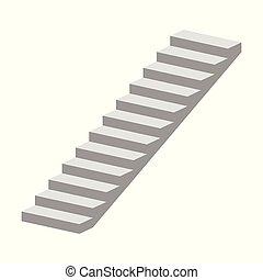 isolé, illustration, vecteur, fond, blanc, escalier