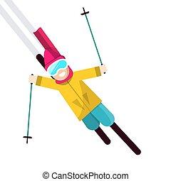 isolé, illustration, vecteur, fond, blanc, skieur