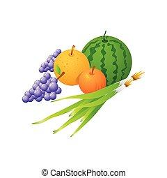 isolé, illustration, vecteur, fond, fruits, blanc