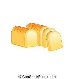 isolé, illustration, vecteur, fond, pain blanc