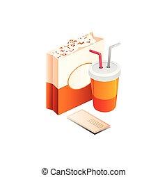 isolé, illustration, vecteur, fond, pop-corn, blanc