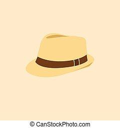 isolé, illustration, vecteur, icône, chapeau, homme