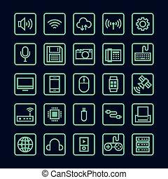 isolé, illustration, vecteur, ligne, technologie, icône