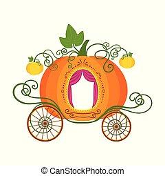 isolé, illustration, voiture, vecteur, fond, blanc, citrouille