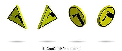 isolé, jaune, brûler, production., signes, ensemble, avertissement, fond, arrière-plan., hasardeux, blanc, vecteur, extincteur
