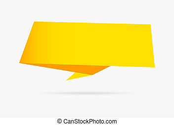 isolé, jaune, papier, infographic, collection, fond, origami, blanc, bannière, ruban