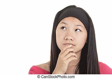 isolé, jeune, asiatique, fond, girl, blanc