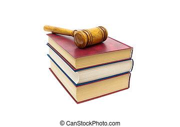 isolé, juge, livres, fond, marteau, blanc