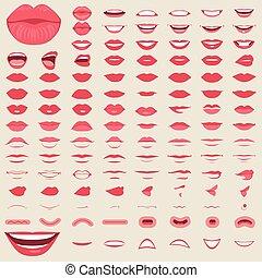 isolé, lèvres, femme, sourire, bouche, mâle