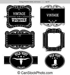isolé, labels., silhouettes, conception, occidental, noir, blanc