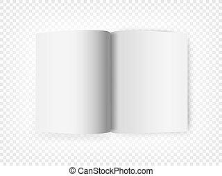 isolé, livre, fond, blanc, ouvert, transparent