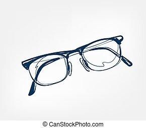 isolé, lunettes, agrafe, ligne, vecteur, produits de beauté, art