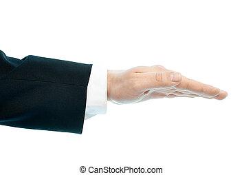 isolé, mâle, composition, main, caucasien