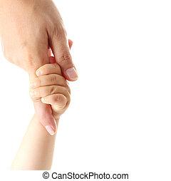 isolé, mère, possession main, main bébé