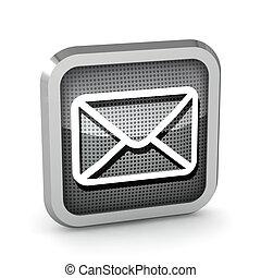isolé, métallique, fond, courrier, blanc, icône