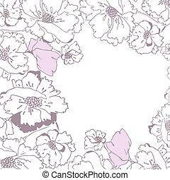 isolé, main, arrière-plan., coquelicots, dessiné, blanc, carte