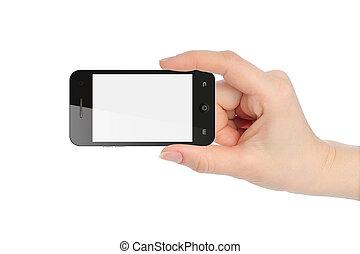isolé, main, téléphone, tenue, blanc, intelligent