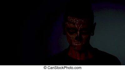isolé, mal, zombi, arrière-plan., noir, sourire, homme
