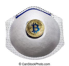 isolé, monde médical, bitcoin, protection, blockchain, respiratoire, symbole, masque de protection, fond