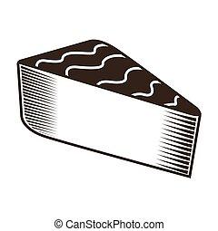 isolé, morceau, de, tarte, croquis
