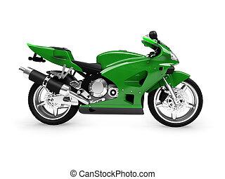 isolé, motocyclette, vue côté