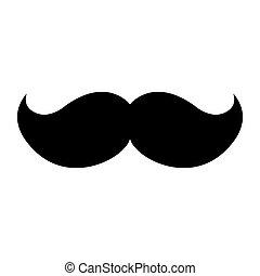 isolé, moustache, icône