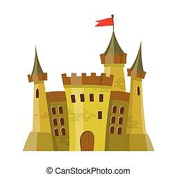 isolé, moyen-âge, fée, château, style, fond, blanc, dessin animé