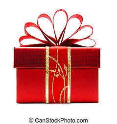 isolé, noël don, boîte, rouges