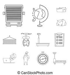 isolé, objet, de, marchandises, et, cargaison, icon., collection, de, marchandises, et, entrepôt, stockage, bitmap, illustration.