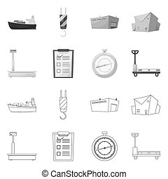isolé, objet, de, marchandises, et, cargaison, icon., ensemble, de, marchandises, et, entrepôt, stockage, symbole, pour, web.