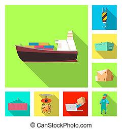 isolé, objet, de, marchandises, et, cargaison, logo., ensemble, de, marchandises, et, entrepôt, bitmap, icône, pour, stock.