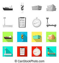 isolé, objet, de, marchandises, et, cargaison, signe., ensemble, de, marchandises, et, entrepôt, stockage, bitmap, illustration.