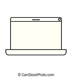 isolé, ordinateur portable, écran, icône