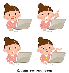 isolé, ordinateur portable, girl, jeune