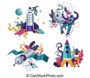 isolé, ou, astronaute, fusée, icône, espace, astronaute, ...