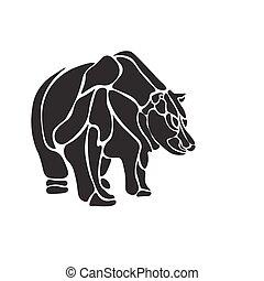 isolé, ours, vecteur, noir, graver, blanc