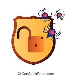 isolé, ouvert, bouclier, cadenas, icônes