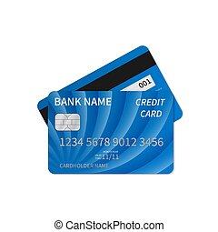 isolé, paiement, crédit, business, argent, gaufré, concept., achats, plastique, white., détaillé, theme., gabarit, vecteur, carte, bleu, ligne, réaliste, argent, symbols.